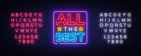 Illustration for All the best Neon Text Vector. All the best neon sign, design template, modern trend design, night neon signboard, night bright advertising, light banner, light art. Vector. Editing text neon sign. - Royalty Free Image