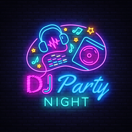 Illustration pour DJ Music Party neon sign vector design template. DJ Concept of music, radio and live concert, neon poster, light banner design element colorful, night bright advertising, bright sign. Vector - image libre de droit