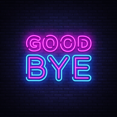 Illustration for Good Bye neon text vector design template. Good Bye neon logo, light banner design element colorful modern design trend, night bright advertising, bright sign. Vector illustration. - Royalty Free Image