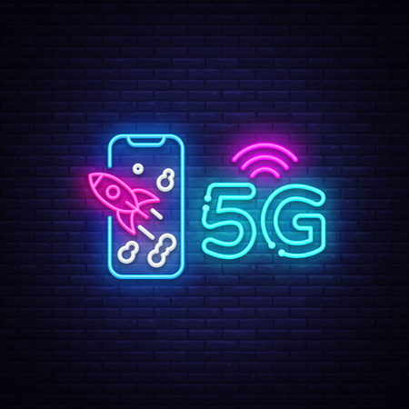 Ilustración de 5G new wireless internet wifi connection neon sign vector. 5G Design template neon sign, light banner, neon signboard, nightly bright advertising, light inscription. Vector illustration - Imagen libre de derechos
