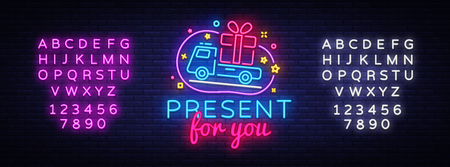 Illustration for Prizes for you neon sign vector. Gift Design template neon sign, light banner, neon signboard, nightly bright advertising, light inscription. Vector illustration. Editing text neon sign. - Royalty Free Image