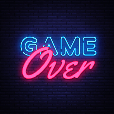 Illustration pour Game Over Neon Text Vector. Game Over neon sign, Gaming design template, modern trend design, night neon signboard, night bright advertising, light banner, light art. Vector illustration. - image libre de droit