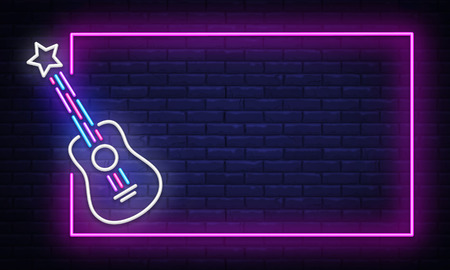 Illustration for Rock Music neon sign vector. Neon Frame Rock Star Design template, light banner, night signboard, nightly bright advertising, light inscription. Vector illustration - Royalty Free Image