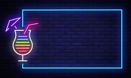 Illustration pour Cocktail neon sign vector design template. Night Club neon frame light banner design element, colorful modern design trend, night bright advertising, bright sign. Vector illustration. - image libre de droit