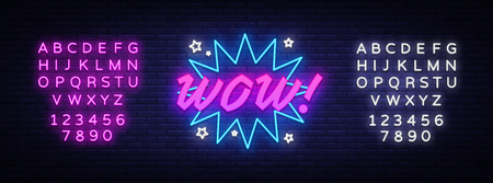 Illustration for WOW neon sign vector. Comic speech bubble with expression text Wow, Design template neon sign, light banner, neon signboard, light inscription. Vector illustration. Editing text neon sign - Royalty Free Image