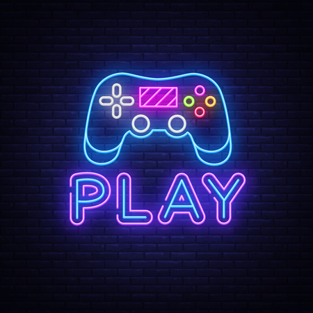 Illustration pour Gaming neon sign vector. Play Design template neon sign, light banner, neon signboard, nightly bright advertising, light inscription. Vector illustration. - image libre de droit