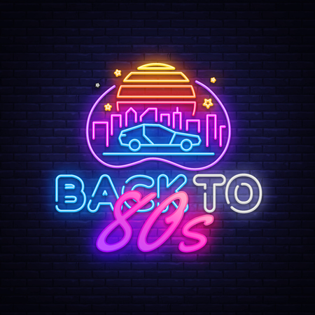 Illustration pour Back to the 80s neon sign vector. 80 s Retro style Design template neon sign, light banner, neon signboard, nightly bright advertising, light inscription. Vector illustration - image libre de droit