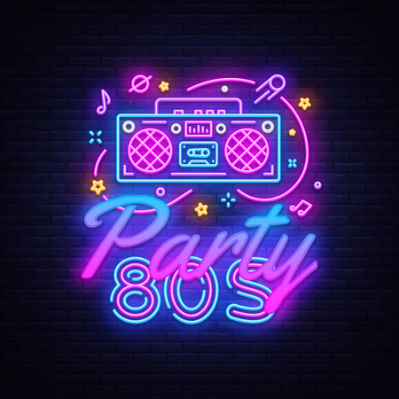 Illustrazione per 80s Party Neon Sign Vector. Back to the 80s neon design template, modern trend design, night signboard, night bright advertising, light banner, light art. Vector illustration - Immagini Royalty Free