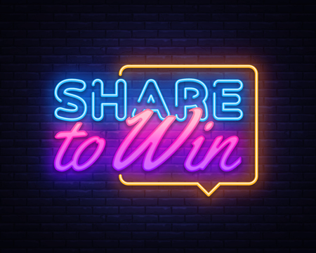 Illustration for Share to Win neon text vector design template. Share to Win neon sign, light banner design element colorful modern design trend, night bright advertising, bright sign. Vector illustration. - Royalty Free Image