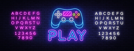 Illustration pour Gaming neon sign vector. Play Design template neon sign, light banner, neon signboard, nightly bright advertising, light inscription. Vector illustration. Editing text neon sign. - image libre de droit