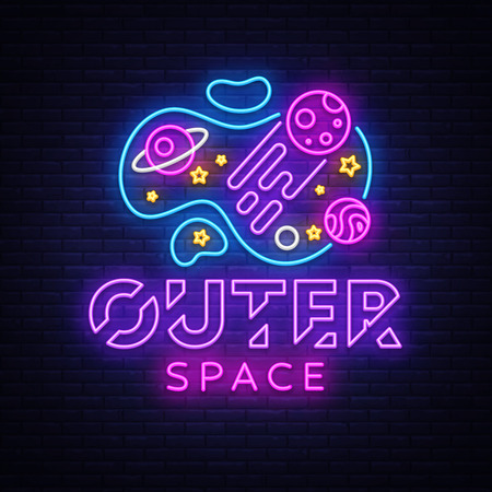 Illustration pour Outer Space neon sign vector. Space Design template neon sign, light banner, neon signboard, nightly bright advertising, light inscription. Vector illustration - image libre de droit