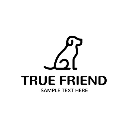 Ilustración de True Dog Friend logo design template. Graphic sitting puppy logotype, sign and symbol. Pet silhouette label illustration isolated on background. Modern animal badge for veterinary clinic, pet food - Imagen libre de derechos