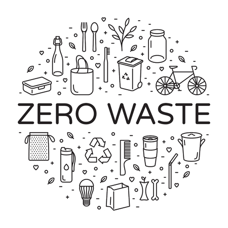 Illustration pour Vector Zero Waste logo design template set. Linear icon illustration of  Refuse Reduce Reuse Recycle Rot. No Plastic and Go Green background in circle form. Ð•co lifestyle sign and symbol collection - image libre de droit