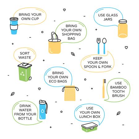 "Ilustración de Zero Waste icon design set. Color linear poster illustration background of  ""Refuse Reduce Reuse Recycle Rot"". No Plastic and Go Green concept. Vector eco lifestyle banner template - Imagen libre de derechos"