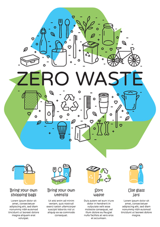 Illustration pour Vector Zero Waste logo design, banner. Arrow recycle sign poster with place for text. Color icon banner background. No Plastic and Go Green concept. Illustration of  Refuse Reduce Reuse Recycle Rot - image libre de droit