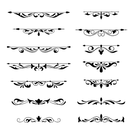 Illustrazione per Floral decorative design element collection vintage style. Dividers set. Traced by hand from own sketch. - Immagini Royalty Free