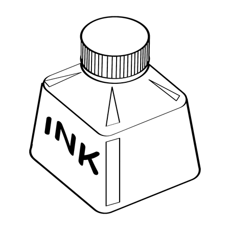 Illustration pour Hand drawn sketch of Ink Bottle isolated, Black and White Cartoon Vector Illustration for Coloring Book - Line Drawn Vector - image libre de droit