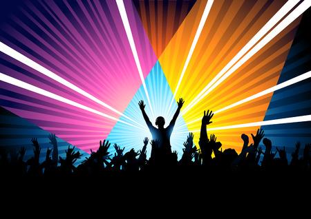 Illustration pour A huge dance crowd with a DJ responding to the crowd. - image libre de droit