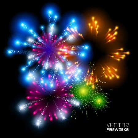 Beautiful Vector Fireworks, on a black background