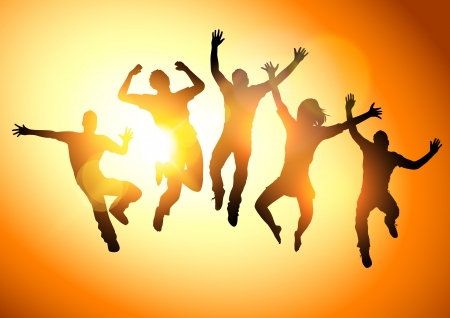 Photo for Jumping Into The Sun  People jumping  -illustration  - Royalty Free Image
