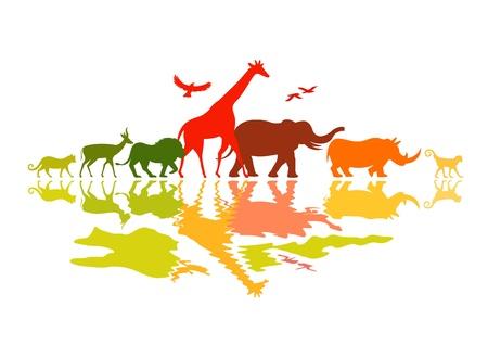 Illustration for Wildlife Safari - Wild animals vector illustration. - Royalty Free Image
