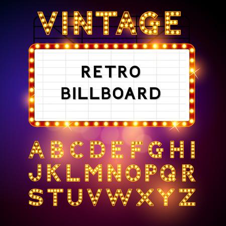 Illustration pour Retro Billboard waiting for your message! Also includes glamorous vector alphabet Vector illustration - image libre de droit