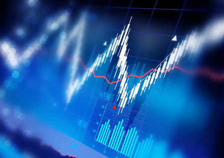 Photo pour Stock market index graphs background. - image libre de droit
