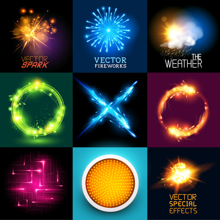 Illustration pour Vector special effects Collection  Set of various light effects and symbols - image libre de droit