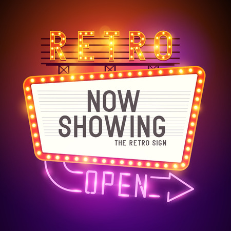 Photo pour Retro Showtime Sign  Theatre cinema Sign with a glamorous feel  Vector illustration  - image libre de droit
