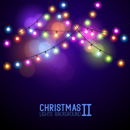Illustration pour Colourful Glowing Christmas Lights. Vector illustration - image libre de droit