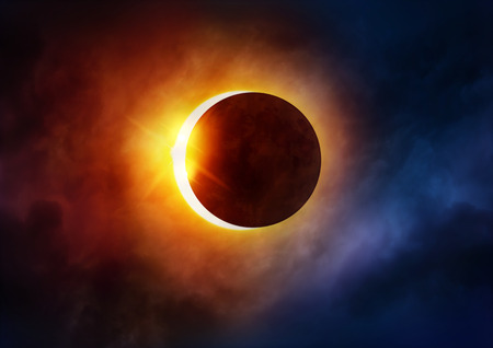 Foto de Solar Eclipse. The moon moving in front of the sun. Illustration - Imagen libre de derechos