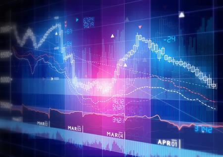 Foto de Stock Market Graph -  Candle stick stock market tracking graph. - Imagen libre de derechos