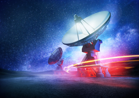 Photo for Astronomy deep space radio telescope arrays at night pointing into space. The milky way sets the background. Illustration. - Royalty Free Image