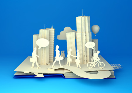Photo pour Pop-Up Book - City Lifestyle. Styled 3D pop-up book city with busy urban city people going about their business. - image libre de droit