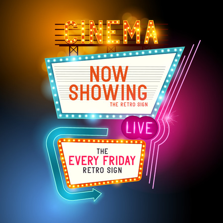 Illustration pour Retro Showtime Sign. Theatre cinema retro sign with glowing neon signs. Vector illustration. - image libre de droit