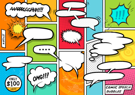 Illustration pour Comic Book Speech Bubbles. A set of colourful and retro comic book design elements with speech bubbles! Vector illustration. - image libre de droit