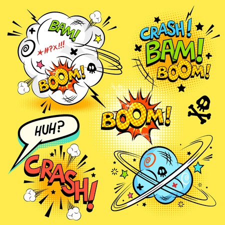 Ilustración de Comic Book Actions - A collection of comic cartoon actions and design elements. Vector illustration - Imagen libre de derechos