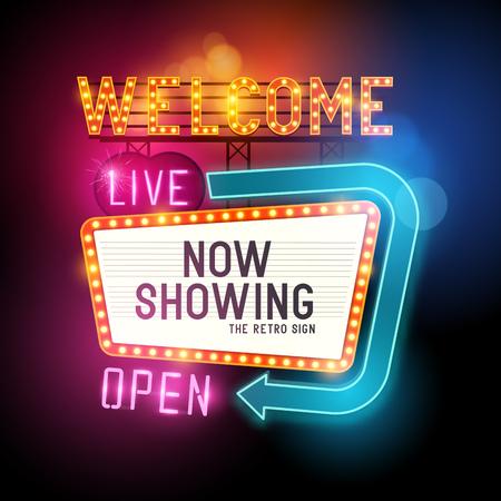 Illustration pour Retro Showtime Sign. Theatre cinema Sign with glowing neon signs. Vector illustration. - image libre de droit