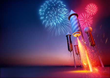 Photo pour Firework Rockets Launching. Sparks flying from a firework rockets lit fuse. Fireworks and celebrations illustration. - image libre de droit
