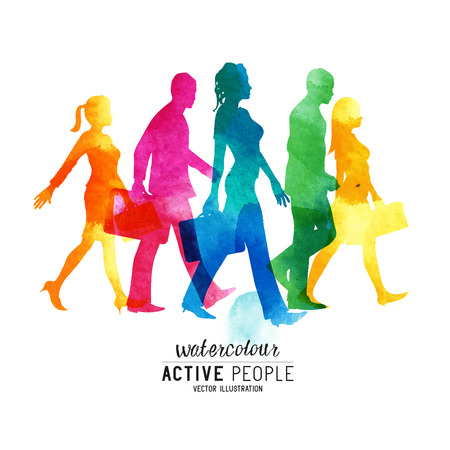 Illustration pour Watercolor Busy Walking People. A group of commuters walking in the city. - image libre de droit