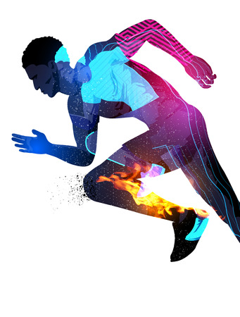Illustration pour Double exposure effect illustration of a running sports man with texture effects. - image libre de droit