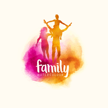 Photo pour watercolour style family, Parents having fun with their child. vector illustration - image libre de droit