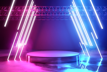 Photo pour Glowing neon lighting and a blank platform for product placement, 3D illustration. - image libre de droit