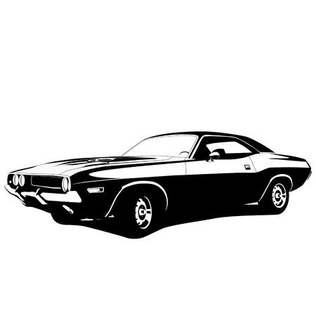Ilustración de muscle car profile. vector illustration - Imagen libre de derechos