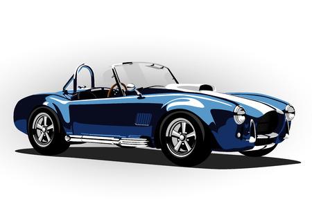 Ilustración de classic sport car cobra roadster blue vector illustration - Imagen libre de derechos