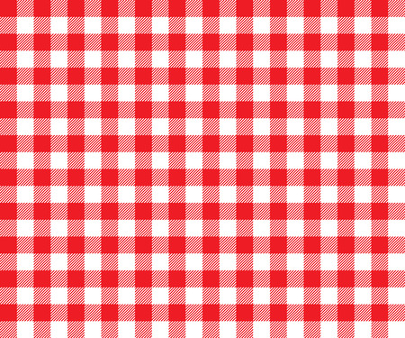 Illustration pour Red table cloth background seamless pattern. Vector illustration of traditional gingham dining cloth with fabric texture. Checkered picnic cooking tablecloth. - image libre de droit