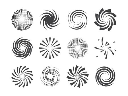 Ilustración de Spiral and swirl motion twisting circles design element set. Vector illustration. - Imagen libre de derechos