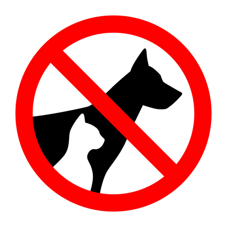 Ilustración de Prohibition sign stop pet dog and cat simple animals silhouette. Vector illustration. - Imagen libre de derechos