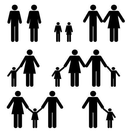 Single mom, dad and two parent families