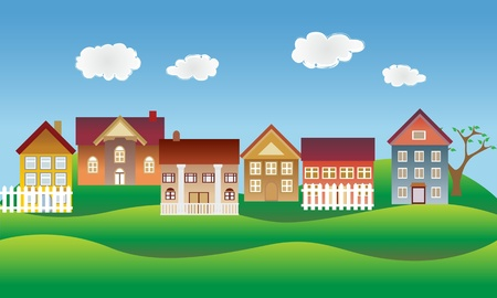 Illustration pour Beautiful village, town or neighborhood on green hills - image libre de droit